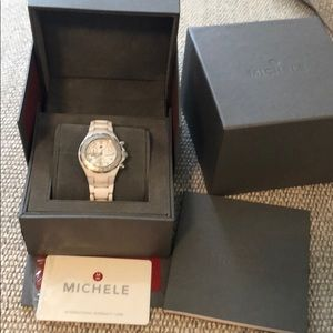 Michele white ceramic diamond watch